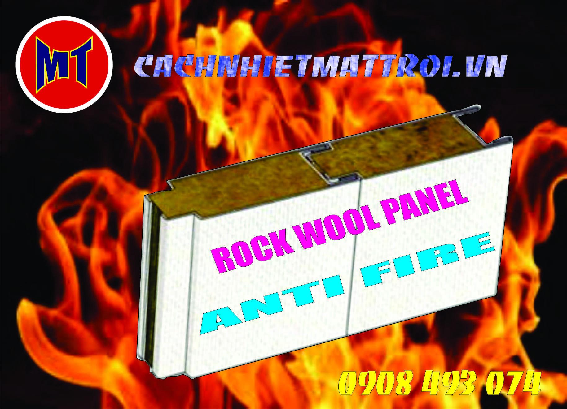 hình ảnh sản phẩm Panel Rock wool chống cháy cách nhiệt cách âm.